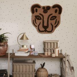 Handgetuftete Teppich Leopardenkopf - Braun